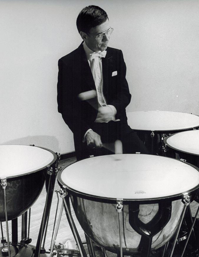 Photo of Stanley Leonard playing Timpani